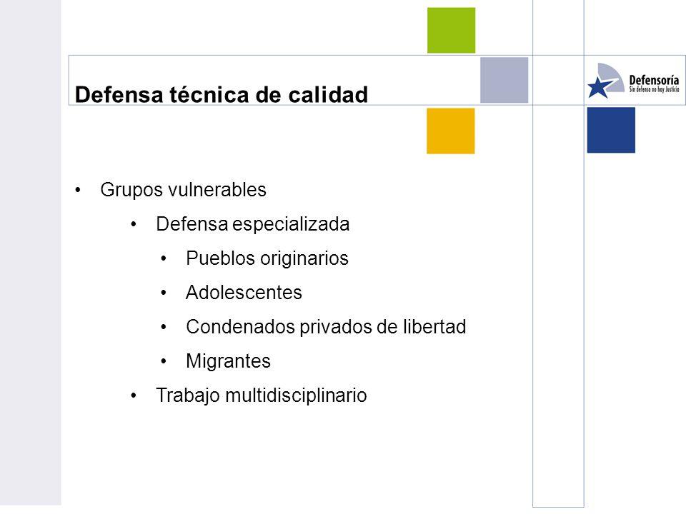 Defensa técnica de calidad Grupos vulnerables Defensa especializada Pueblos originarios Adolescentes Condenados privados de libertad Migrantes Trabajo multidisciplinario