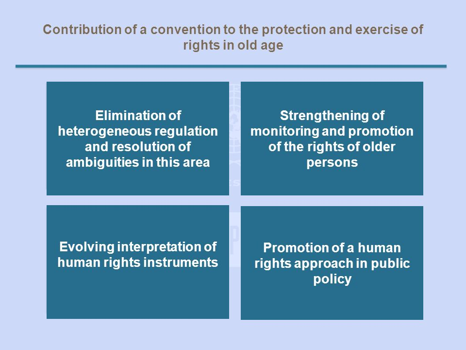 Contribution of a convention to the protection and exercise of rights in old age Eliminar dispersión normativa y esclarecer ambigüedades sobre el tema Fortalecer la vigilancia y promoción de los derechos de las personas mayores Interpretación evolutiva de los instrumentos de derechos humanos Promoción de un enfoque de derechos humanos en las políticas públicas Elimination of heterogeneous regulation and resolution of ambiguities in this area Strengthening of monitoring and promotion of the rights of older persons Promotion of a human rights approach in public policy Evolving interpretation of human rights instruments
