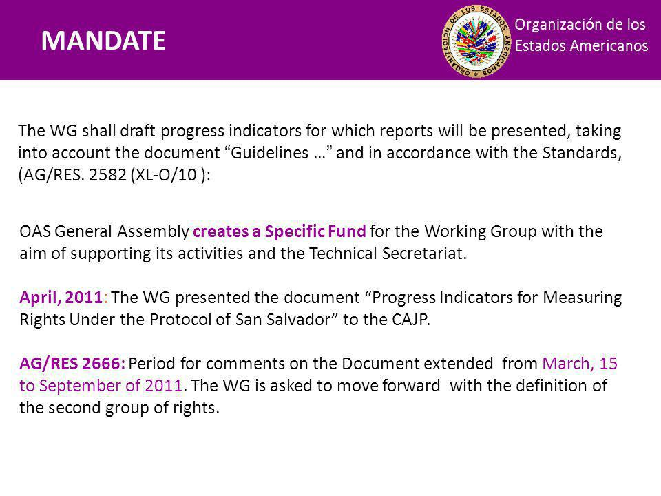 Mandatos The WG shall draft progress indicators for which reports will be presented, taking into account the document Guidelines … and in accordance with the Standards, (AG/RES.