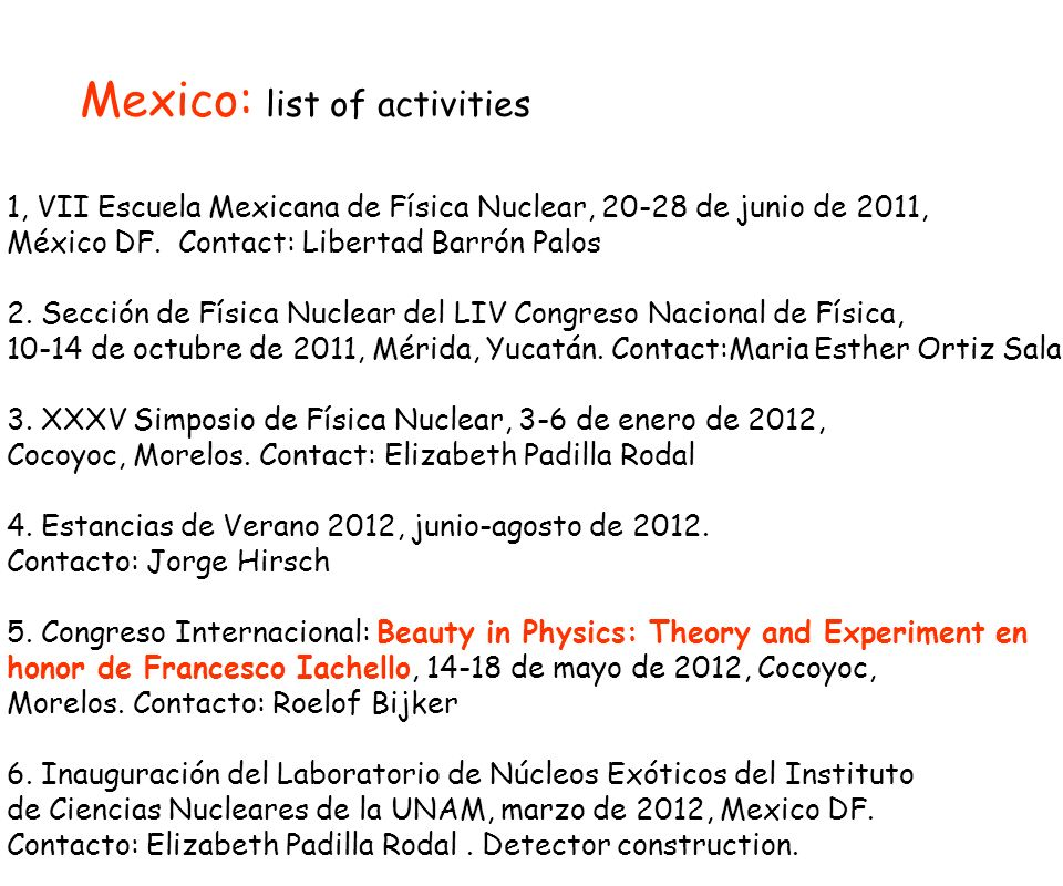 Mexico: list of activities 1, VII Escuela Mexicana de Física Nuclear, 20-28 de junio de 2011, México DF. Contact: Libertad Barrón Palos 2. Sección de