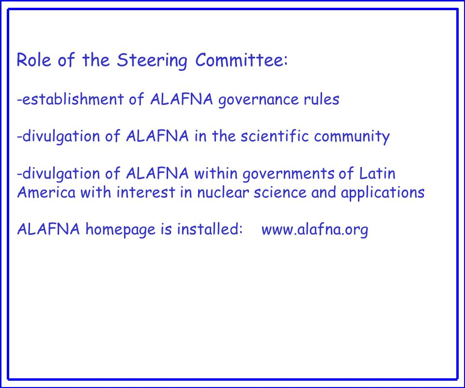 Role of the Steering Committee: -establishment of ALAFNA governance rules -divulgation of ALAFNA in the scientific community -divulgation of ALAFNA within governments of Latin America with interest in nuclear science and applications ALAFNA homepage is installed: www.alafna.org