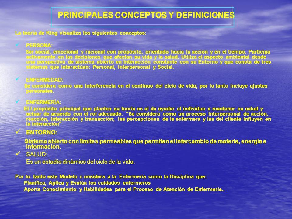 PRINCIPALES CONCEPTOS Y DEFINICIONES La teoría de King visualiza los siguientes conceptos: PERSONA: Ser social, emocional y racional con propósito, or