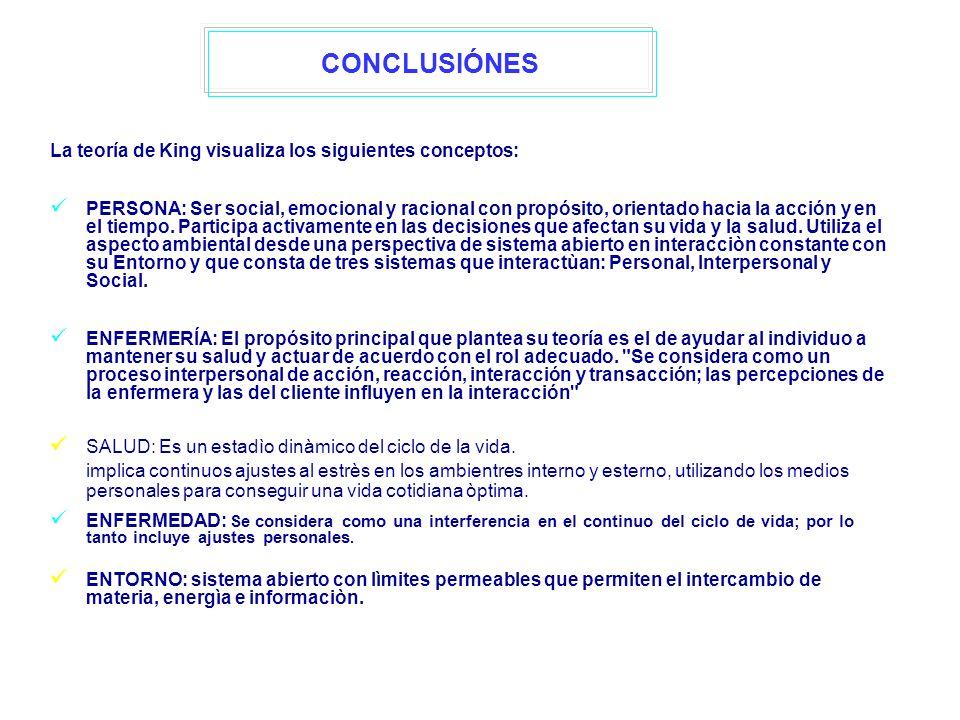 La teoría de King visualiza los siguientes conceptos: PERSONA: Ser social, emocional y racional con propósito, orientado hacia la acción y en el tiemp