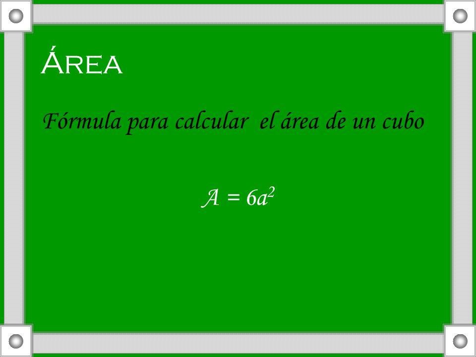 Área Fórmula para calcular el área de un cubo A = 6a 2