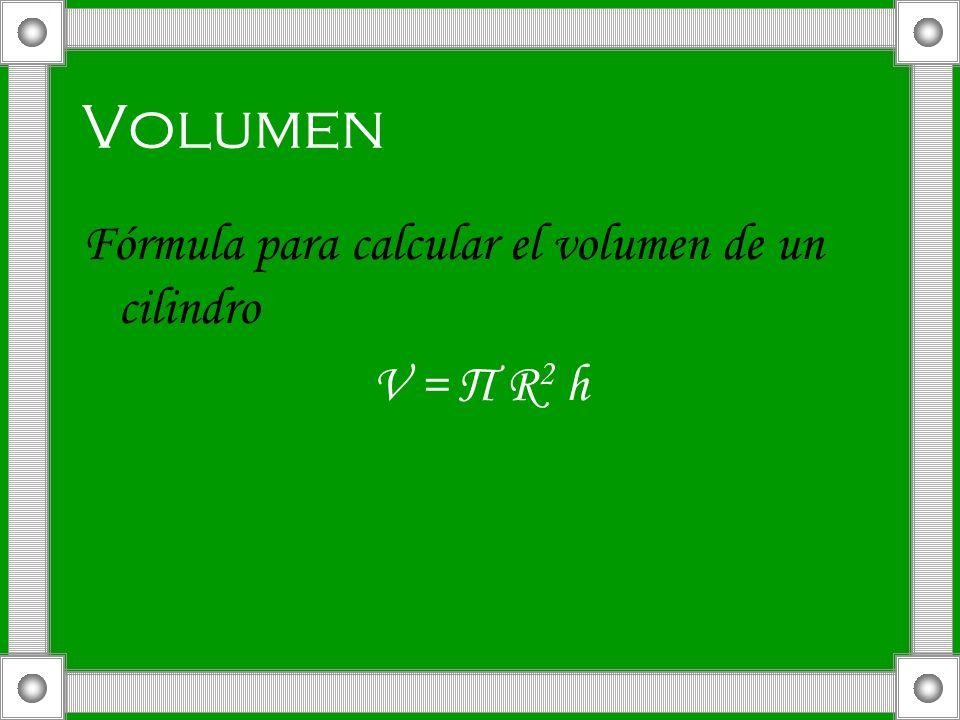 Volumen Fórmula para calcular el volumen de un cilindro V = П R 2 h