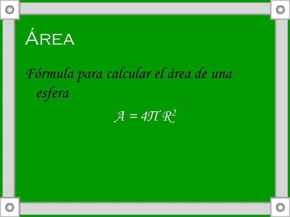 Área Fórmula para calcular el área de una esfera A = 4П R 2