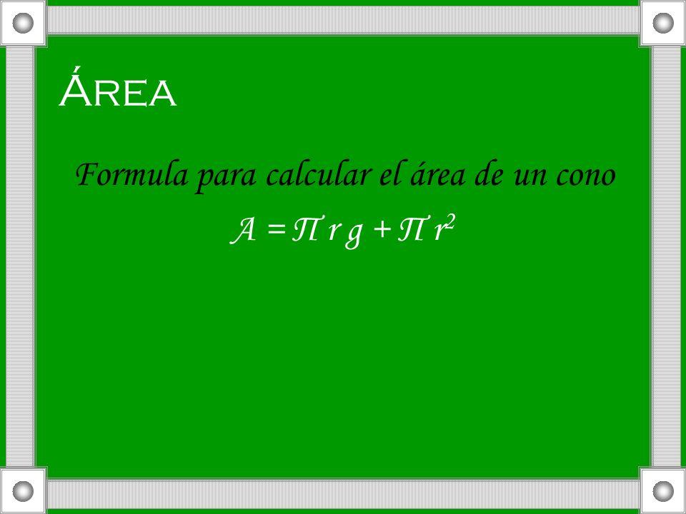 Área Formula para calcular el área de un cono A = Π r g + Π r 2