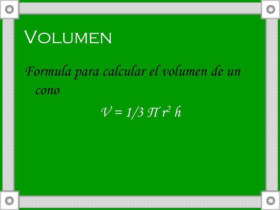 Volumen Formula para calcular el volumen de un cono V = 1/3 П r 2 h