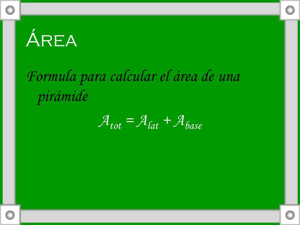 Área Formula para calcular el área de una pirámide A tot = A lat + A base