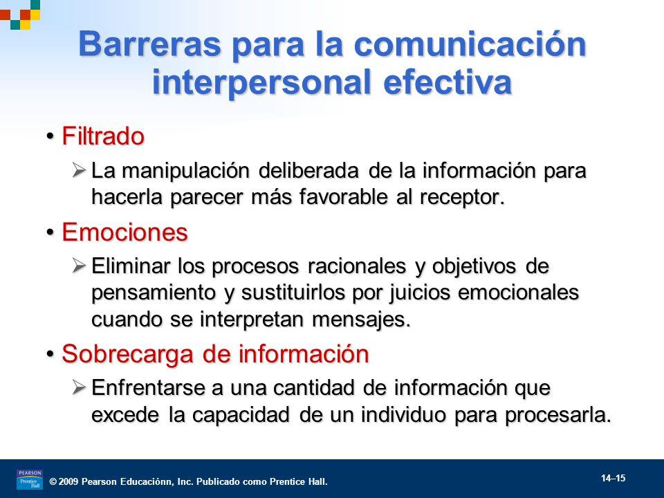 © 2009 Pearson Educaciónn, Inc. Publicado como Prentice Hall. 14–15 Barreras para la comunicación interpersonal efectiva FiltradoFiltrado La manipulac