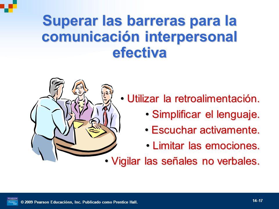 © 2009 Pearson Educaciónn, Inc. Publicado como Prentice Hall. 14–17 Superar las barreras para la comunicación interpersonal efectiva Utilizar la retro