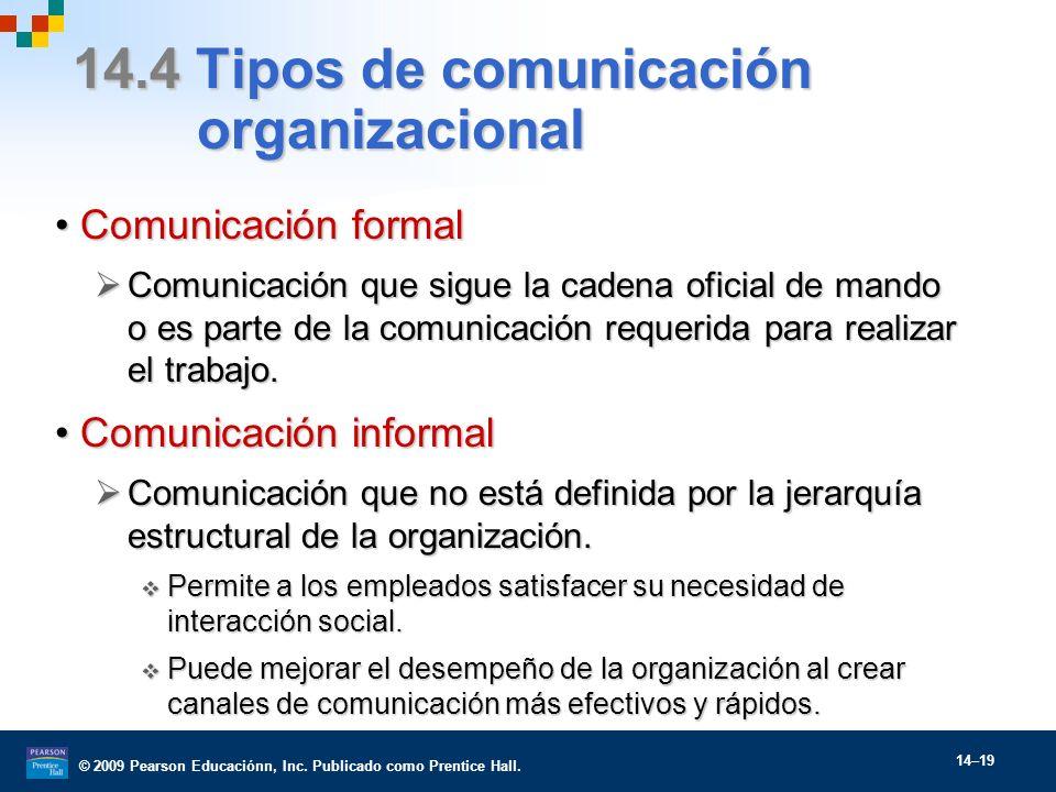 © 2009 Pearson Educaciónn, Inc. Publicado como Prentice Hall. 14–19 14.4 Tipos de comunicación organizacional Comunicación formalComunicación formal C
