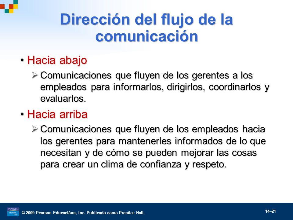 © 2009 Pearson Educaciónn, Inc. Publicado como Prentice Hall. 14–21 Dirección del flujo de la comunicación Hacia abajoHacia abajo Comunicaciones que f