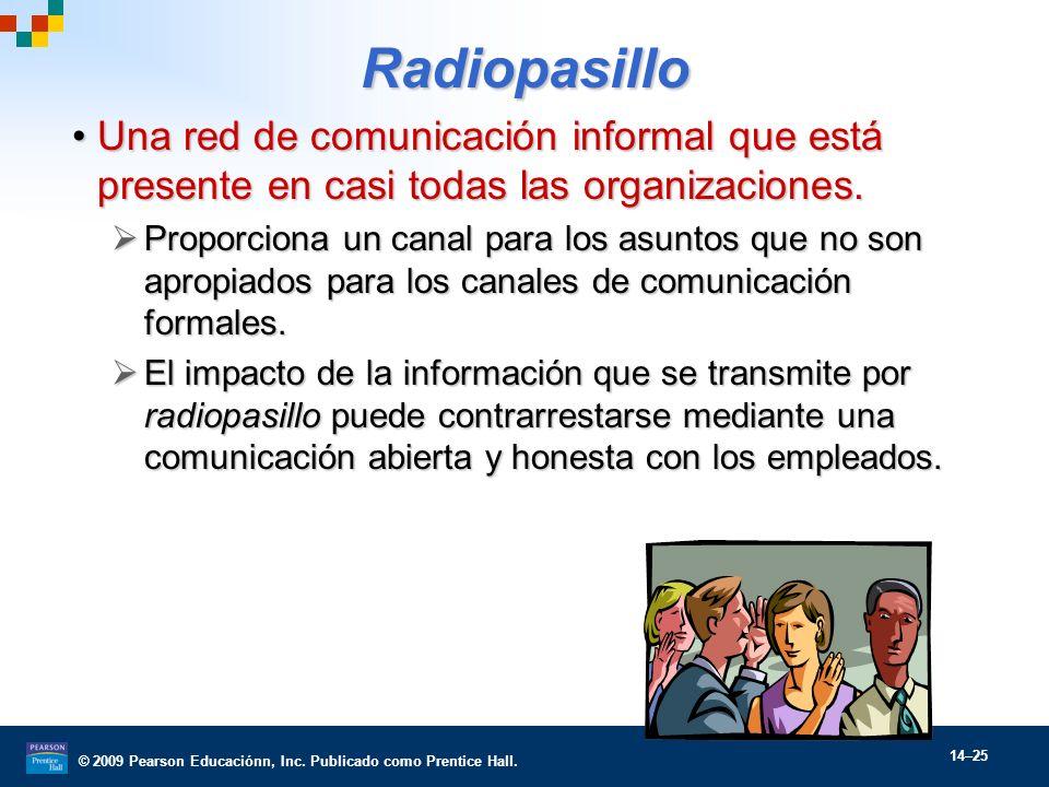 © 2009 Pearson Educaciónn, Inc. Publicado como Prentice Hall. 14–25 Radiopasillo Una red de comunicación informal que está presente en casi todas las