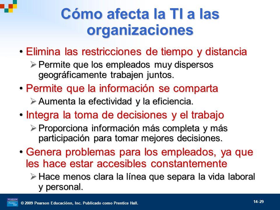 © 2009 Pearson Educaciónn, Inc. Publicado como Prentice Hall. 14–29 Cómo afecta la TI a las organizaciones Elimina las restricciones de tiempo y dista