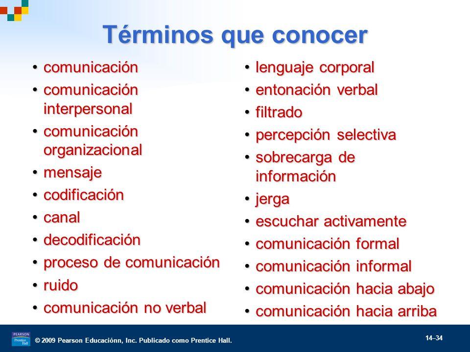 © 2009 Pearson Educaciónn, Inc. Publicado como Prentice Hall. 14–34 Términos que conocer comunicacióncomunicación comunicación interpersonalcomunicaci