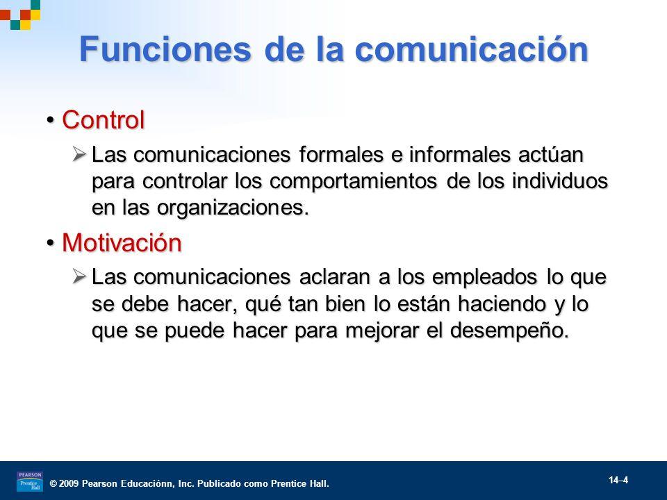 © 2009 Pearson Educaciónn, Inc. Publicado como Prentice Hall. 14–4 Funciones de la comunicación ControlControl Las comunicaciones formales e informale