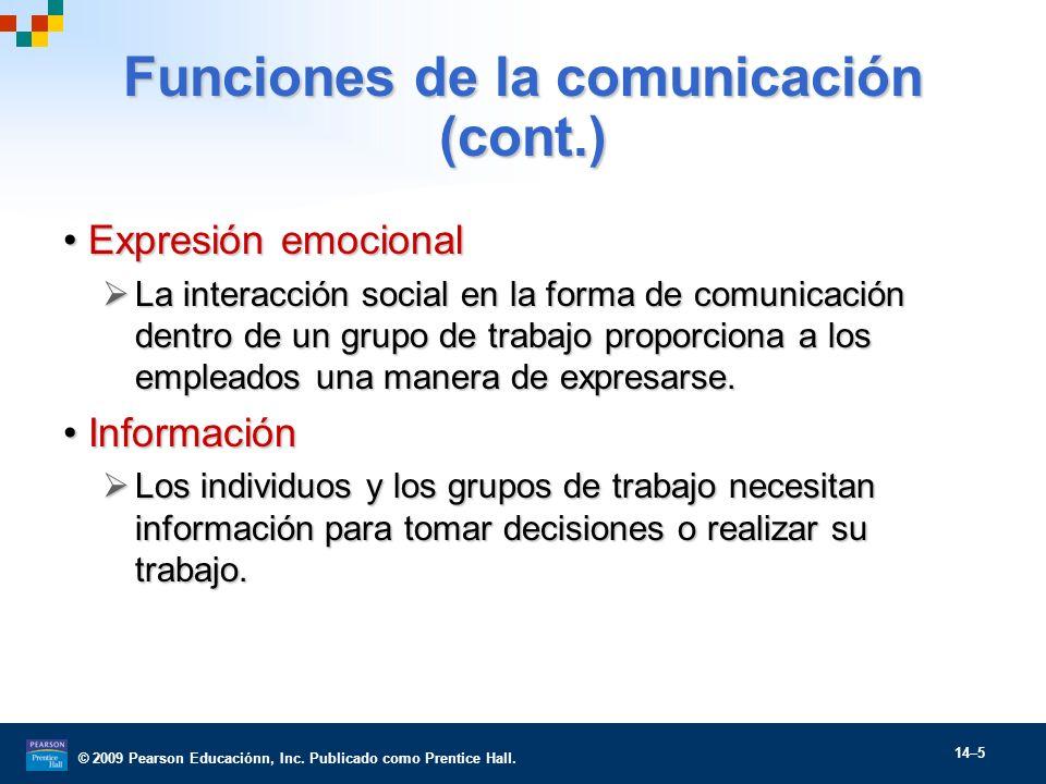 © 2009 Pearson Educaciónn, Inc. Publicado como Prentice Hall. 14–5 Funciones de la comunicación (cont.) Expresión emocionalExpresión emocional La inte