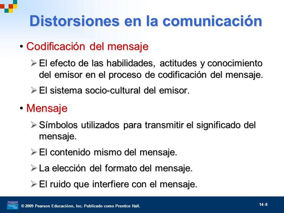 © 2009 Pearson Educaciónn, Inc. Publicado como Prentice Hall. 14–8 Distorsiones en la comunicación Codificación del mensajeCodificación del mensaje El