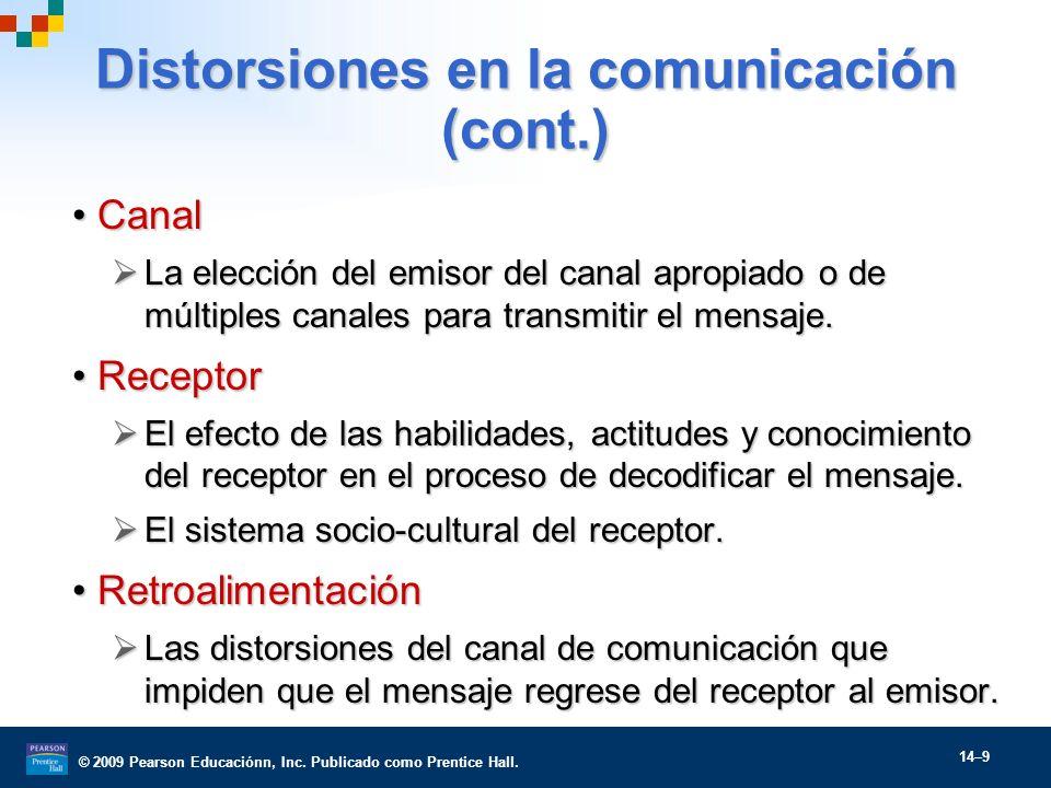 © 2009 Pearson Educaciónn, Inc. Publicado como Prentice Hall. 14–9 Distorsiones en la comunicación (cont.) CanalCanal La elección del emisor del canal