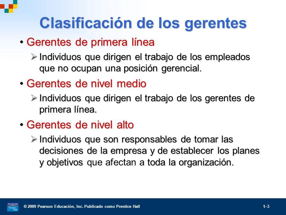 © 2009 Pearson Educación, Inc. Publicado como Prentice Hall 1–3 Clasificación de los gerentes Gerentes de primera líneaGerentes de primera línea Indiv
