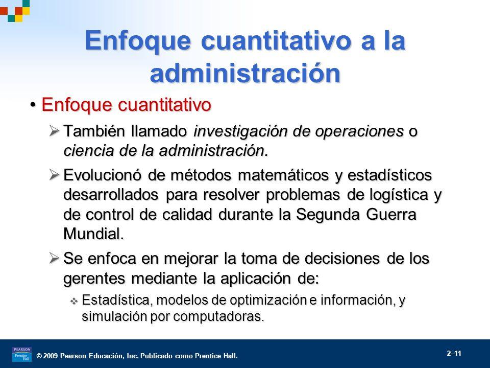 © 2009 Pearson Educación, Inc. Publicado como Prentice Hall. 2–11 Enfoque cuantitativo a la administración Enfoque cuantitativoEnfoque cuantitativo Ta