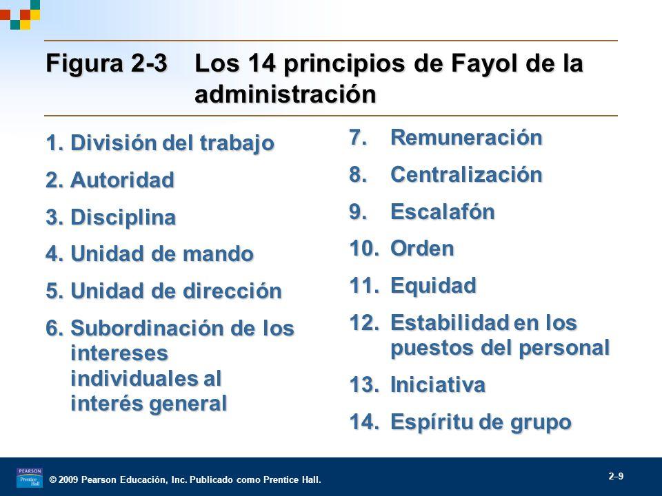 © 2009 Pearson Educación, Inc. Publicado como Prentice Hall. 2–9 Figura 2-3Los 14 principios de Fayol de la administración 1.División del trabajo 2.Au