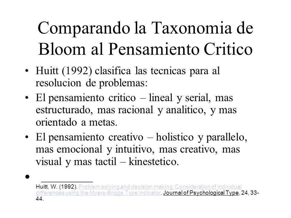 Comparando la Taxonomia de Bloom al Pensamiento Critico Huitt (1992) clasifica las tecnicas para al resolucion de problemas: El pensamiento critico –