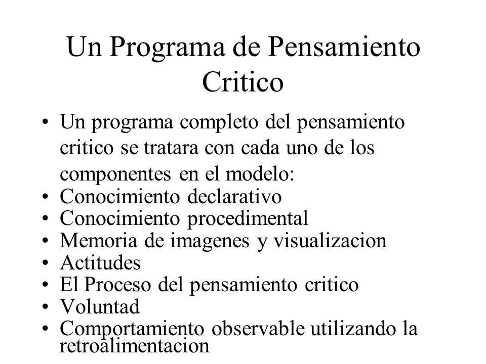 Un Programa de Pensamiento Critico Un programa completo del pensamiento critico se tratara con cada uno de los componentes en el modelo: Conocimiento