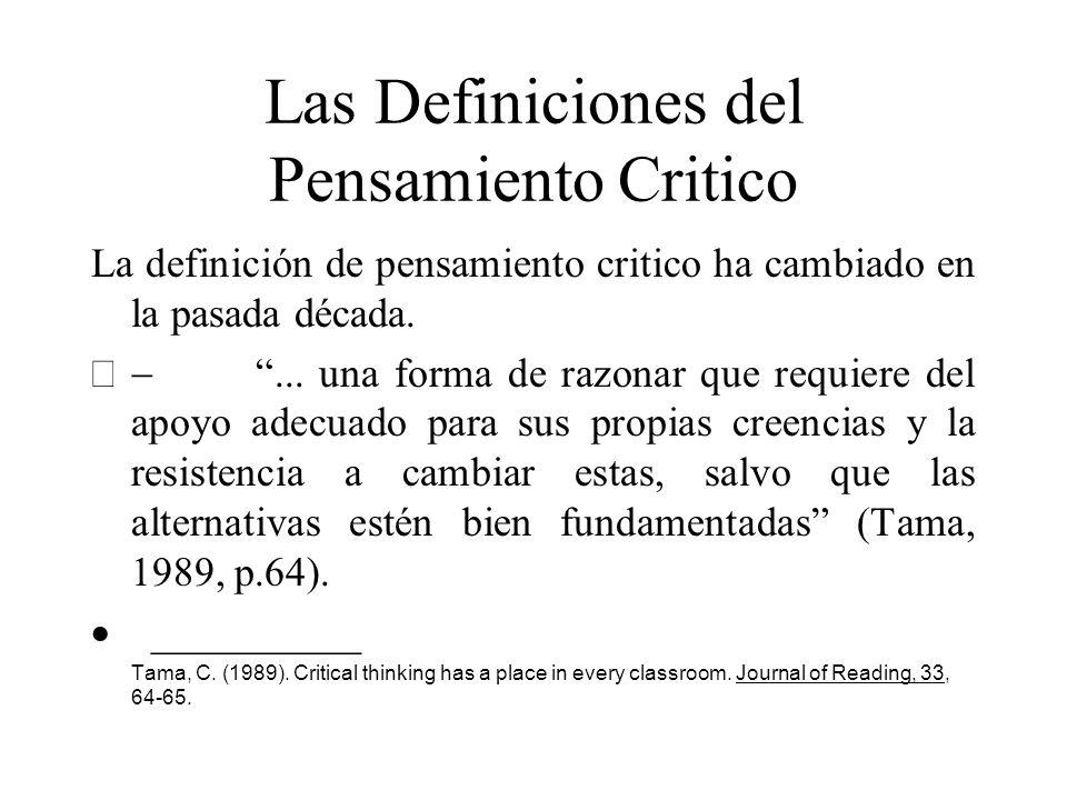 Las Definiciones del Pensamiento Critico La definición de pensamiento critico ha cambiado en la pasada década.... una forma de razonar que requiere de