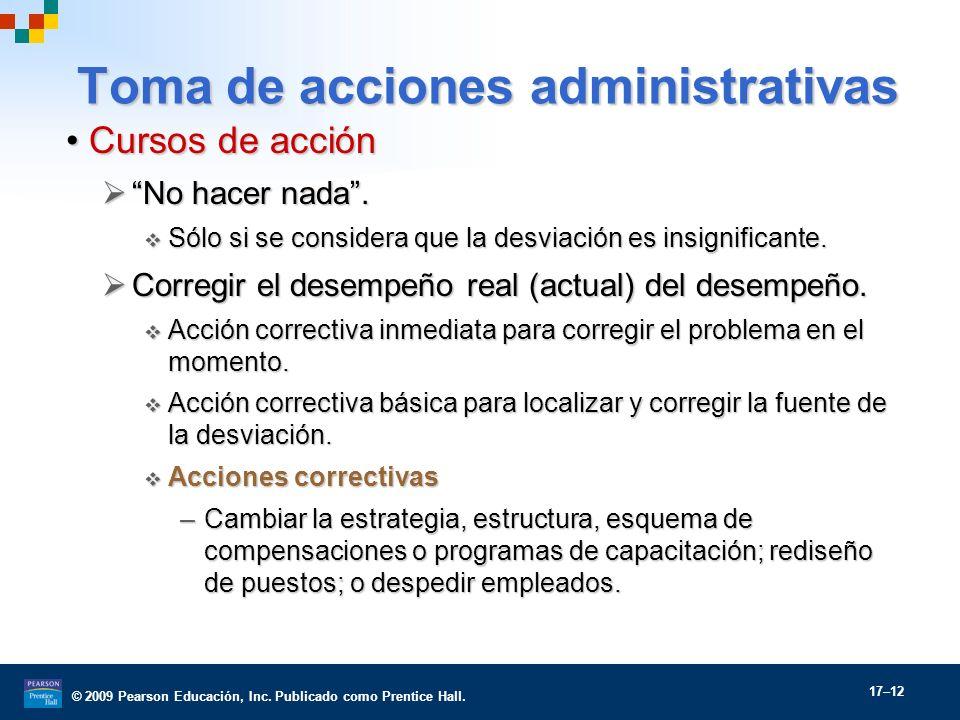 © 2009 Pearson Educación, Inc. Publicado como Prentice Hall. 17–12 Toma de acciones administrativas Cursos de acciónCursos de acción No hacer nada. No