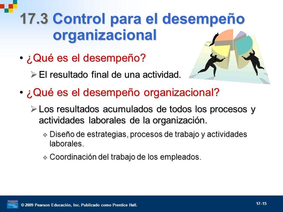 © 2009 Pearson Educación, Inc. Publicado como Prentice Hall. 17–15 17.3 Control para el desempeño organizacional ¿Qué es el desempeño?¿Qué es el desem