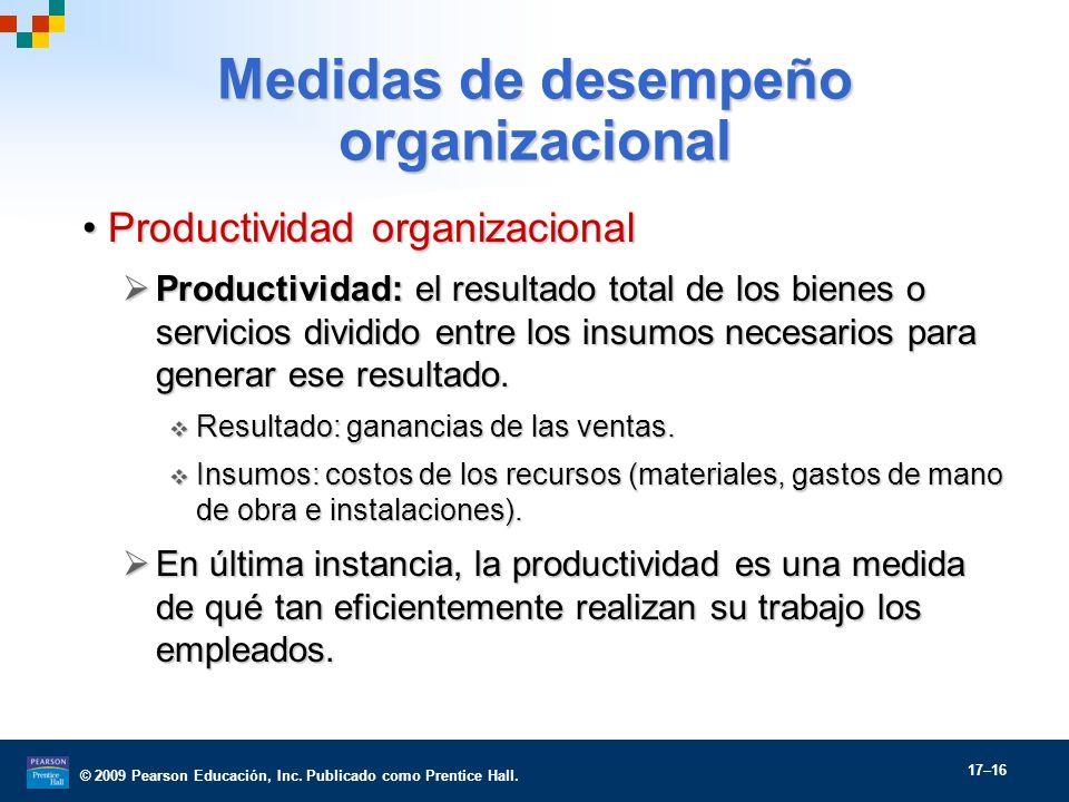 © 2009 Pearson Educación, Inc. Publicado como Prentice Hall. 17–16 Medidas de desempeño organizacional Productividad organizacionalProductividad organ