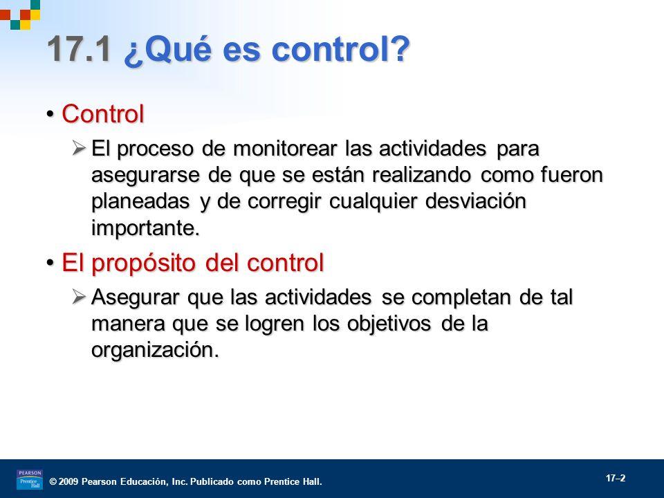 © 2009 Pearson Educación, Inc. Publicado como Prentice Hall. 17–2 17.1 ¿Qué es control? ControlControl El proceso de monitorear las actividades para a