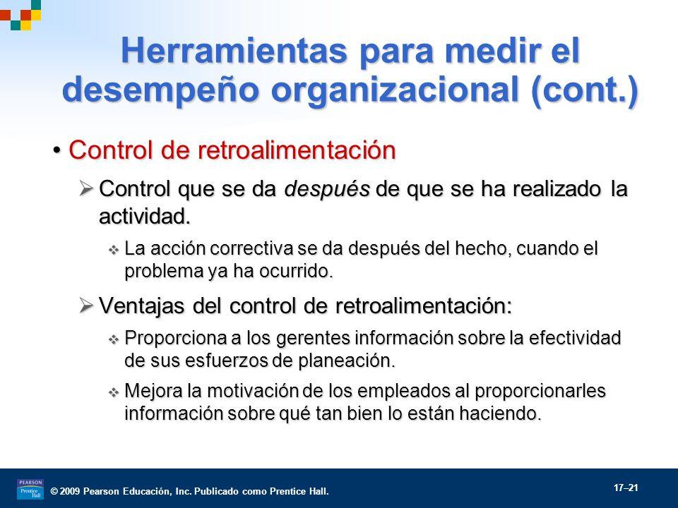 © 2009 Pearson Educación, Inc. Publicado como Prentice Hall. 17–21 Herramientas para medir el desempeño organizacional (cont.) Control de retroaliment
