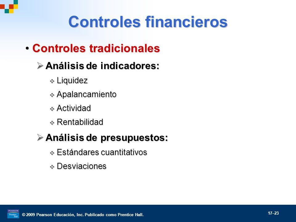 © 2009 Pearson Educación, Inc. Publicado como Prentice Hall. 17–23 Controles financieros Controles tradicionalesControles tradicionales Análisis de in