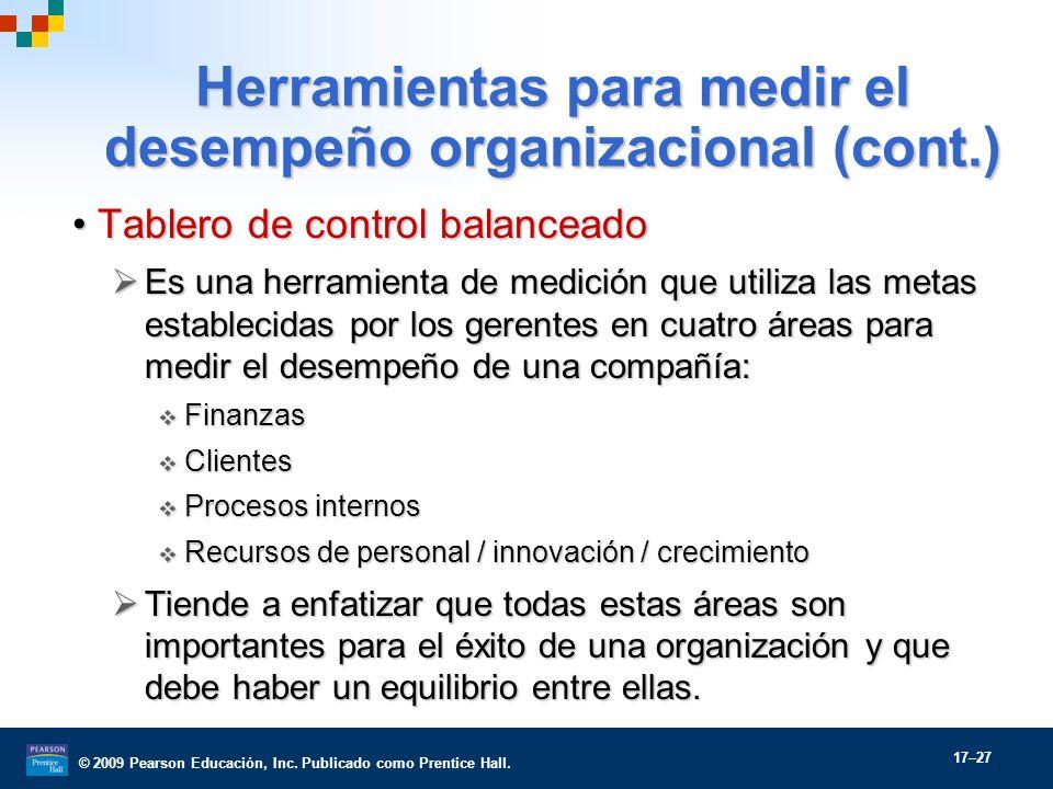 © 2009 Pearson Educación, Inc. Publicado como Prentice Hall. 17–27 Herramientas para medir el desempeño organizacional (cont.) Tablero de control bala