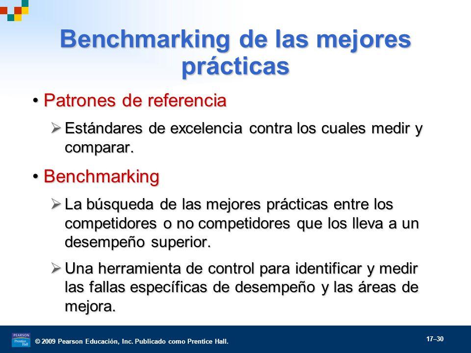 © 2009 Pearson Educación, Inc. Publicado como Prentice Hall. 17–30 Benchmarking de las mejores prácticas Patrones de referenciaPatrones de referencia