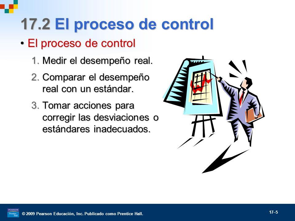 © 2009 Pearson Educación, Inc. Publicado como Prentice Hall. 17–5 17.2 El proceso de control El proceso de controlEl proceso de control 1.Medir el des