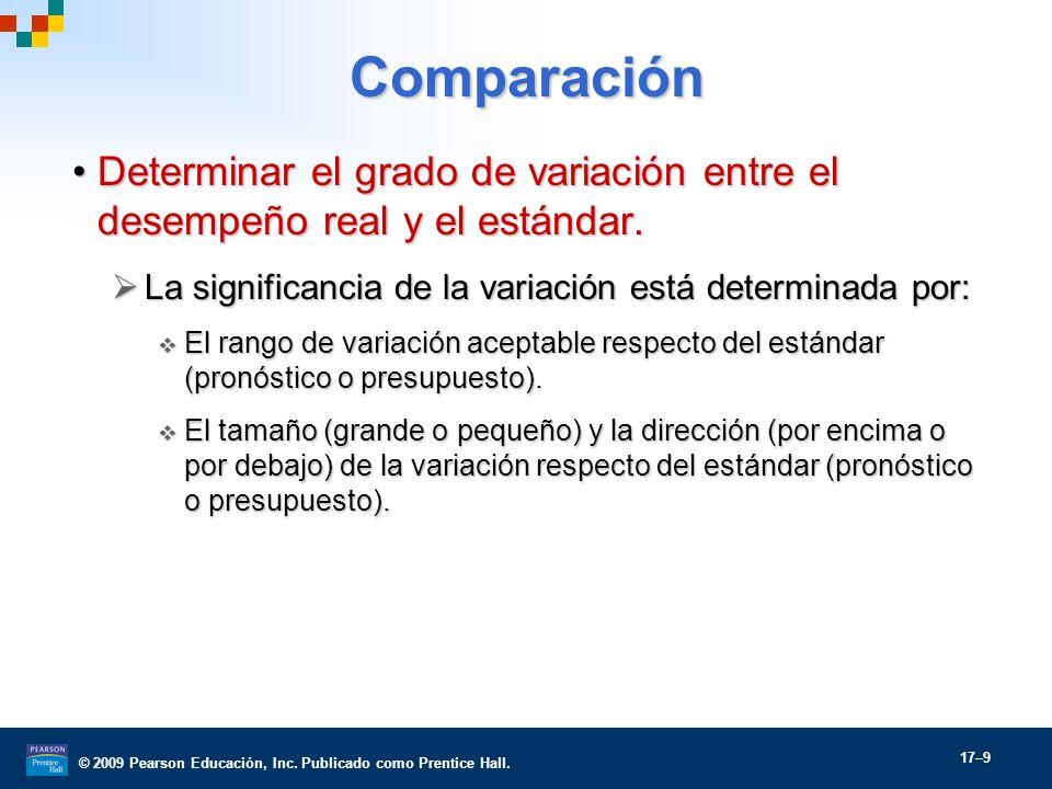 © 2009 Pearson Educación, Inc. Publicado como Prentice Hall. 17–9 Comparación Determinar el grado de variación entre el desempeño real y el estándar.D