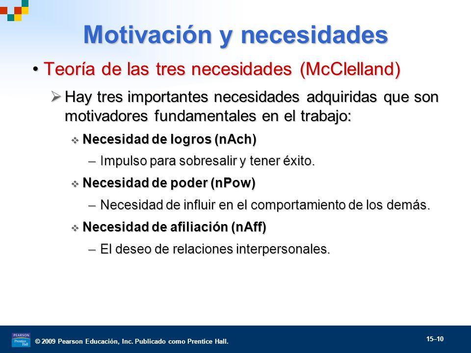 © 2009 Pearson Educación, Inc. Publicado como Prentice Hall. 15–10 Motivación y necesidades Teoría de las tres necesidades (McClelland)Teoría de las t