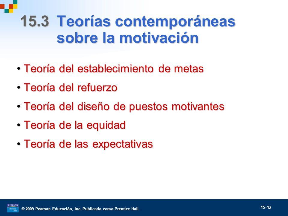© 2009 Pearson Educación, Inc. Publicado como Prentice Hall. 15–12 15.3 Teorías contemporáneas sobre la motivación Teoría del establecimiento de metas