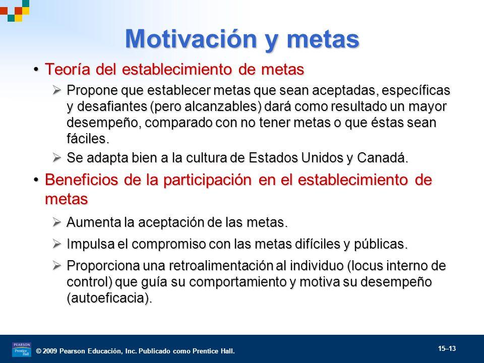 © 2009 Pearson Educación, Inc. Publicado como Prentice Hall. 15–13 Motivación y metas Teoría del establecimiento de metasTeoría del establecimiento de