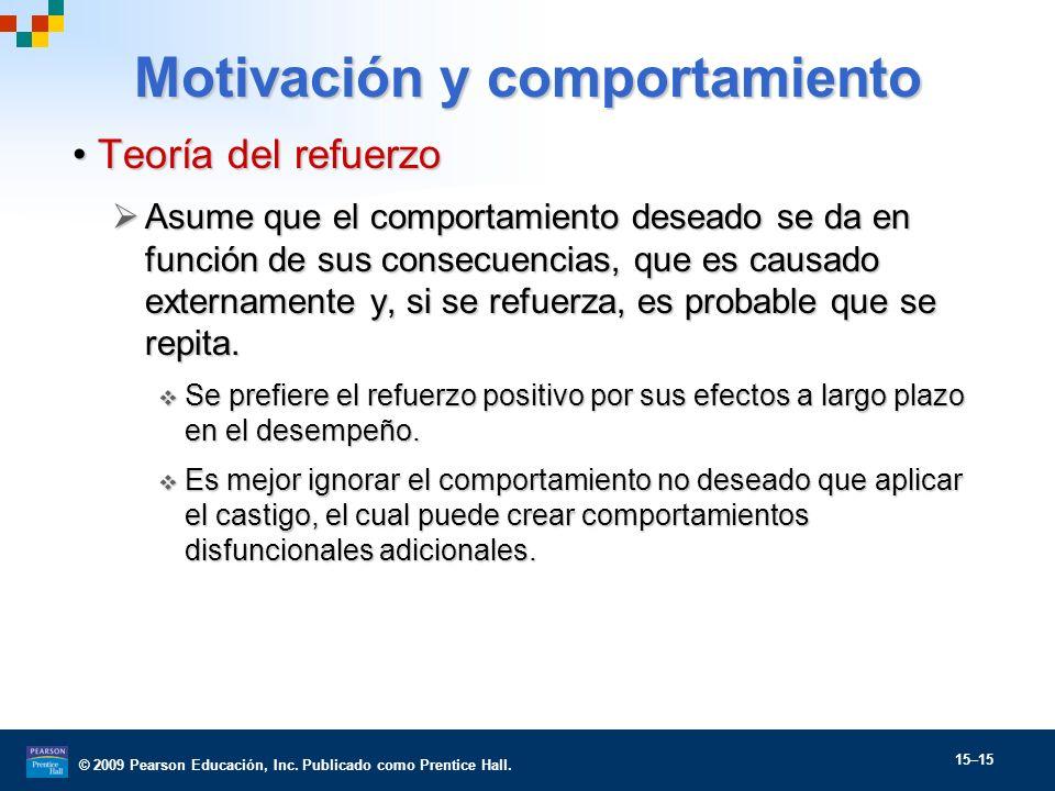 © 2009 Pearson Educación, Inc. Publicado como Prentice Hall. 15–15 Motivación y comportamiento Teoría del refuerzoTeoría del refuerzo Asume que el com