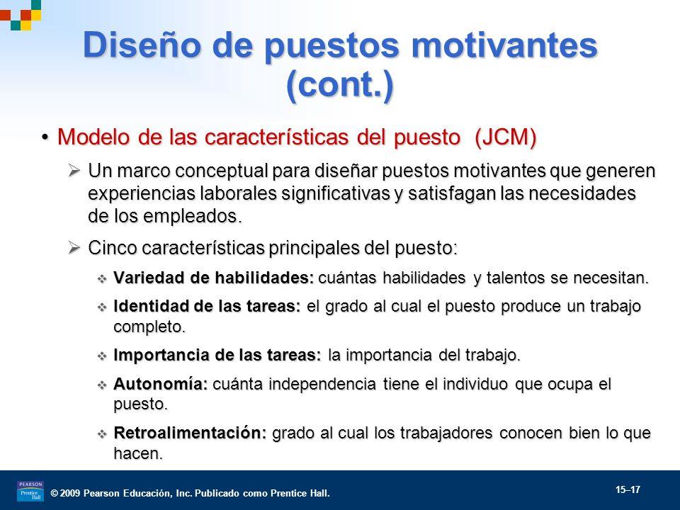 © 2009 Pearson Educación, Inc. Publicado como Prentice Hall. 15–17 Diseño de puestos motivantes (cont.) Modelo de las características del puesto (JCM)