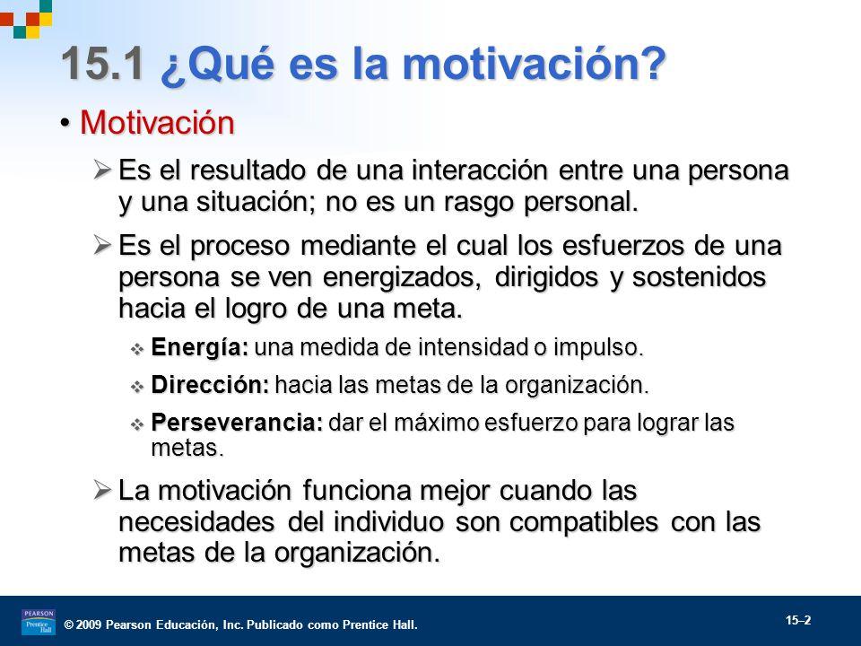 © 2009 Pearson Educación, Inc. Publicado como Prentice Hall. 15–2 15.1 ¿Qué es la motivación? MotivaciónMotivación Es el resultado de una interacción