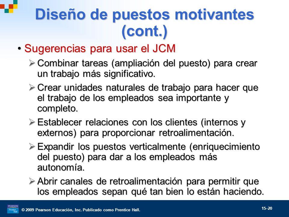 © 2009 Pearson Educación, Inc. Publicado como Prentice Hall. 15–20 Diseño de puestos motivantes (cont.) Sugerencias para usar el JCMSugerencias para u