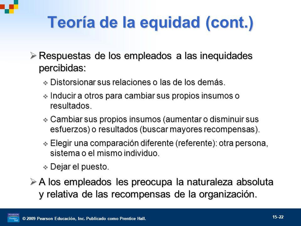 © 2009 Pearson Educación, Inc. Publicado como Prentice Hall. 15–22 Teoría de la equidad (cont.) Respuestas de los empleados a las inequidades percibid