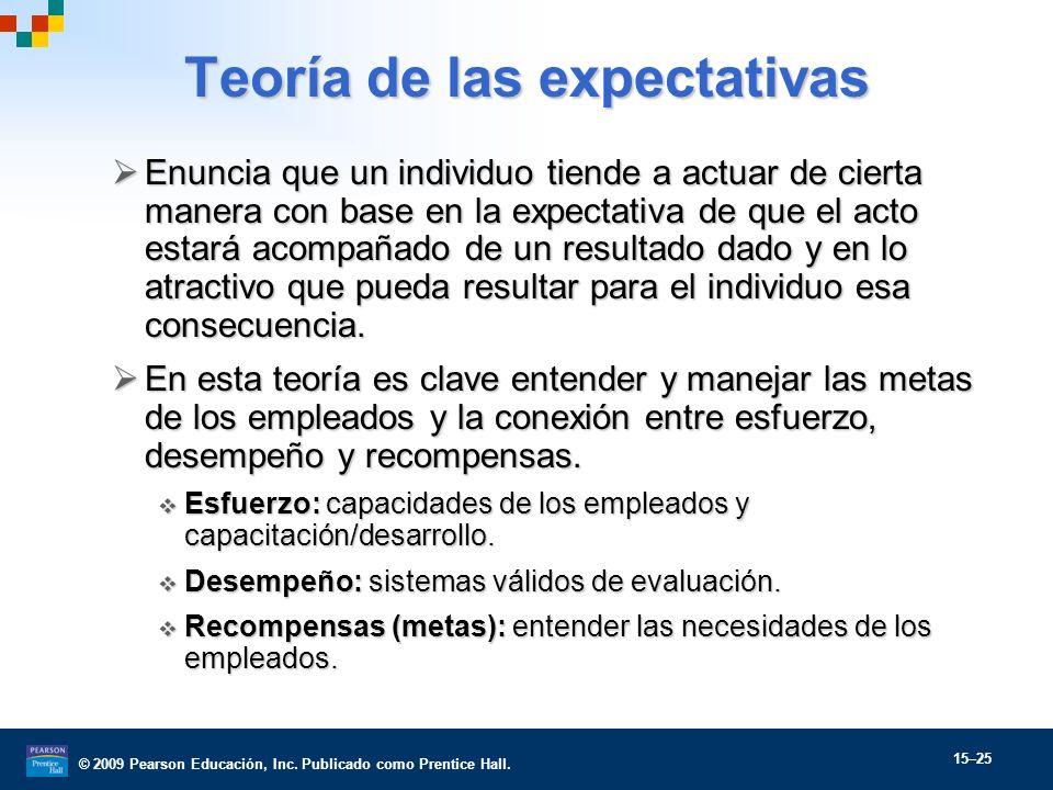 © 2009 Pearson Educación, Inc. Publicado como Prentice Hall. 15–25 Teoría de las expectativas Enuncia que un individuo tiende a actuar de cierta maner