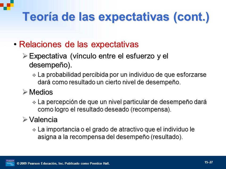 © 2009 Pearson Educación, Inc. Publicado como Prentice Hall. 15–27 Teoría de las expectativas (cont.) Relaciones de las expectativasRelaciones de las